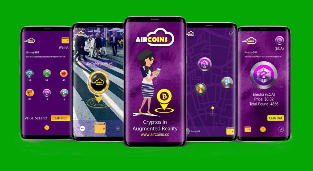 Collect cryptocurrency in augvented reality App Aircoins